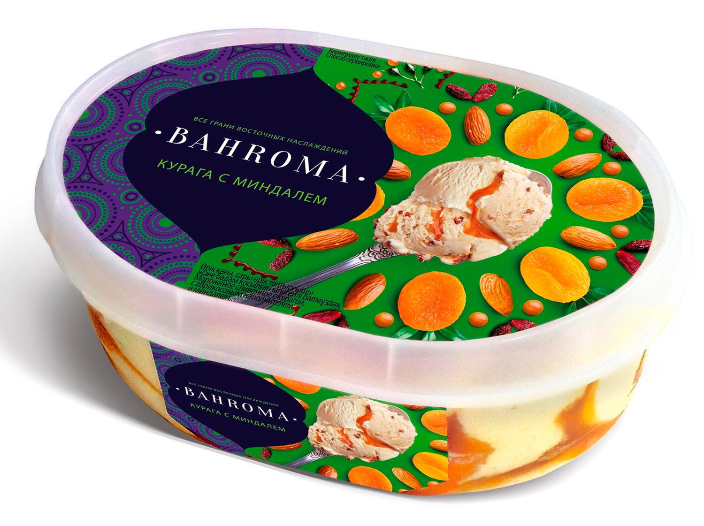 Мороженое BAHROMA, Курага с миндалем БЗМЖ, ванна 500 г