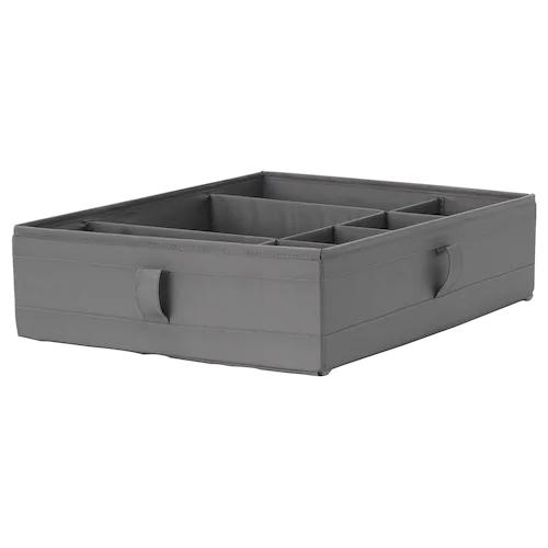 СКУББ Ящик с отделениями, темно-серый 44x34x11 см
