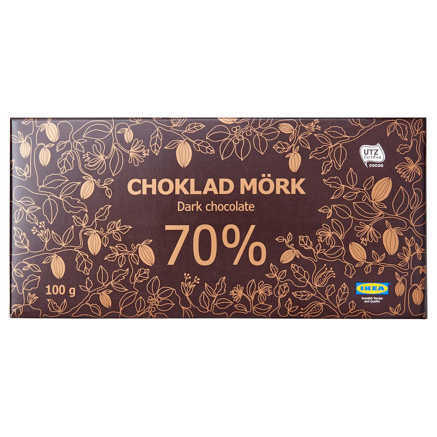 CHOKLAD MÖRK Шоколад горький 70%, 100 г.