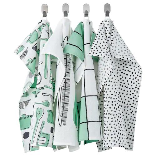 РИННИГ Полотенце кухонное, бел/зелен/с рисунком 45x60 см