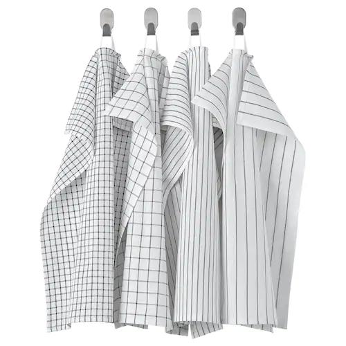 РИННИГ Полотенце кухонное, белый/темно-серый/с рисунком 45x60 см