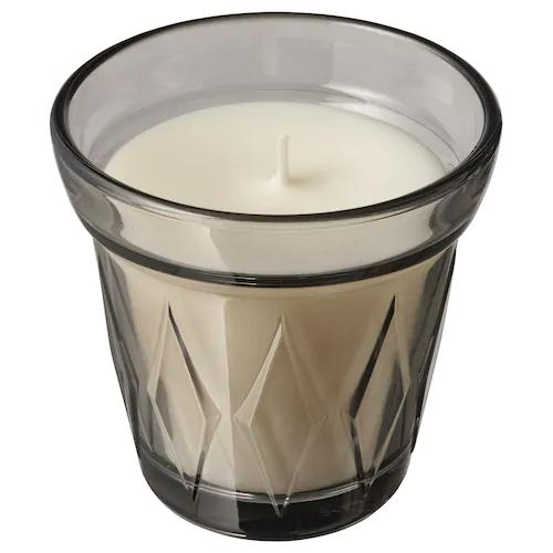 ВЭЛЬДОФТ Ароматическая свеча в стакане, Соленая карамель/серый 8 см