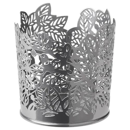САМВЕРКА Подсвечник для греющей свечи, серебристый 8 см