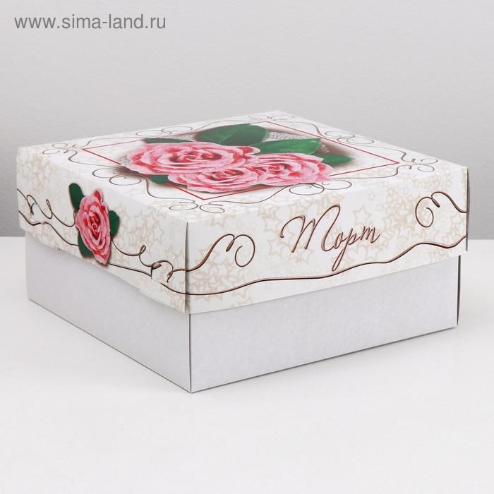 Кондитерская упаковка, Розовые розы 29,5 х 29,5 х 15 см