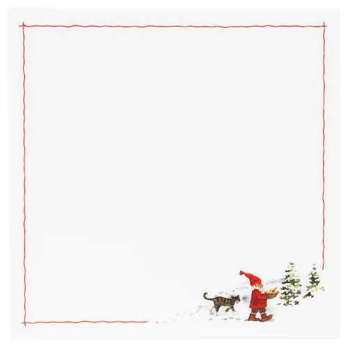 ВИНТЕР 2020 Салфетка под приборы, орнамент «Санта Клаус» белый/красный 37x37 см