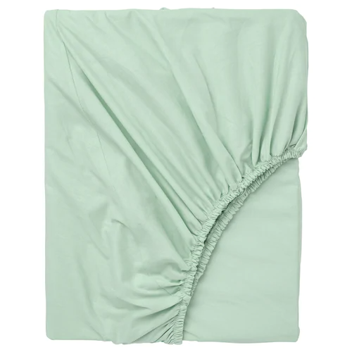 ДВАЛА Простыня натяжная, светло-зеленый 180x200 см