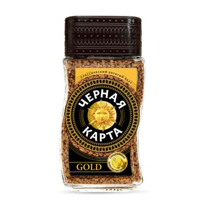 Кофе Черная Карта Gold, растворимый, стекло, 95 г