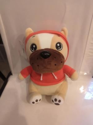 Мягкая игрушка, Собака бульдог в капюшоне 20 см