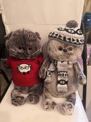 Мягкая игрушка, Котик в шапочке/в свитере, большой 40 см