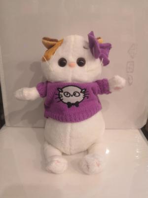 Мягкая игрушка, Котик белый в свитере 25 см