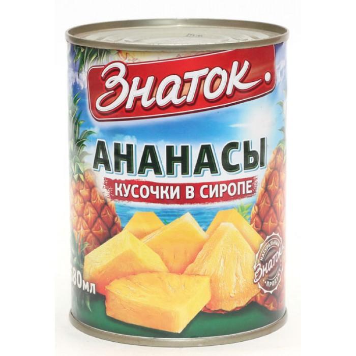 Ананасы консервированные в сиропе Знаток, 580 мл