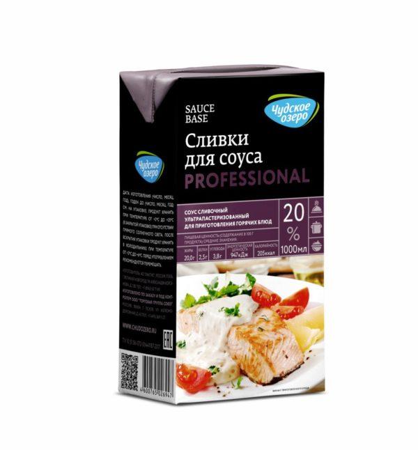 """Сливки ультрапастеризованные для соуса """"Чудское озеро"""", 20%, 1 л"""