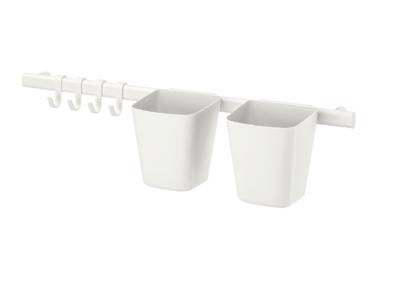 СУННЕРСТА Рейлинг с 4 крючками,2 контейнерами, белый.
