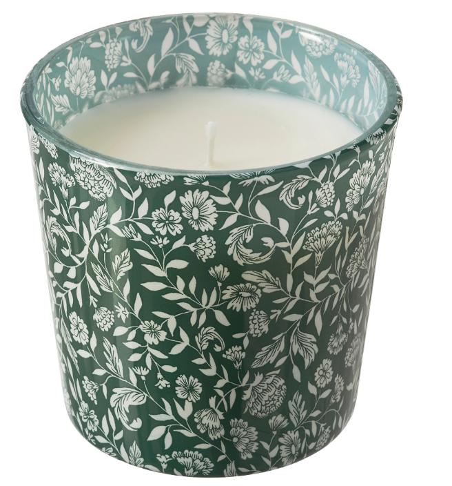 МЕДКЭМПЕ Ароматическая свеча в стакане, Сладкая ваниль/зеленый 7.5 см