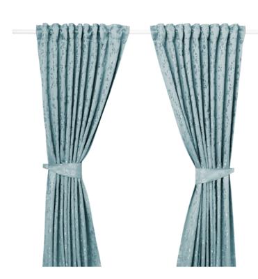 ЛИЗАБРИТТ Гардины с прихватом, 2 шт., синий145x300 см