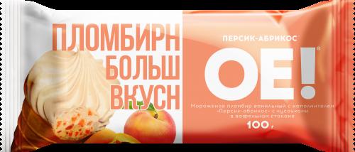 Мороженое ОЕ, пломбир с персиком и абрикосом БЗМЖ, стаканчик 100 г