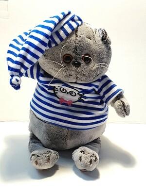 Мягкая игрушка, Котик в шапке и футболке полосат. 35 см