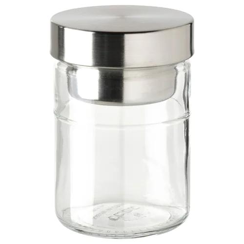 ДАГКЛАР Банка с вставкой, прозрачное стекло/нержавеющ сталь 0.4 л