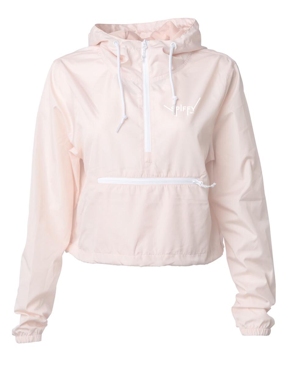 Women's Crop Windbreaker  (Pink)