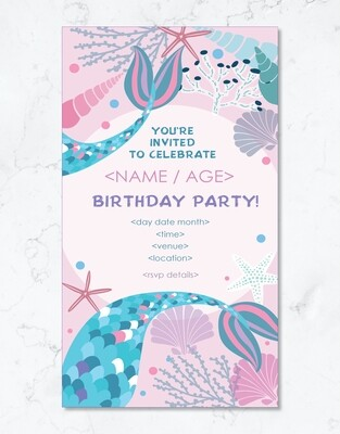 Mermaid Party Invite - Editable PDF