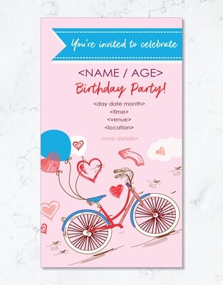 Pink Adventure Party Invite - Editable PDF