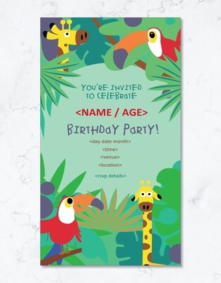 Jungle Party Invite - Editable PDF