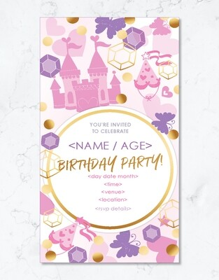 Princess Party Invite - Editable PDF