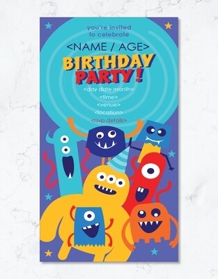 Monster Party Invite - Editable PDF