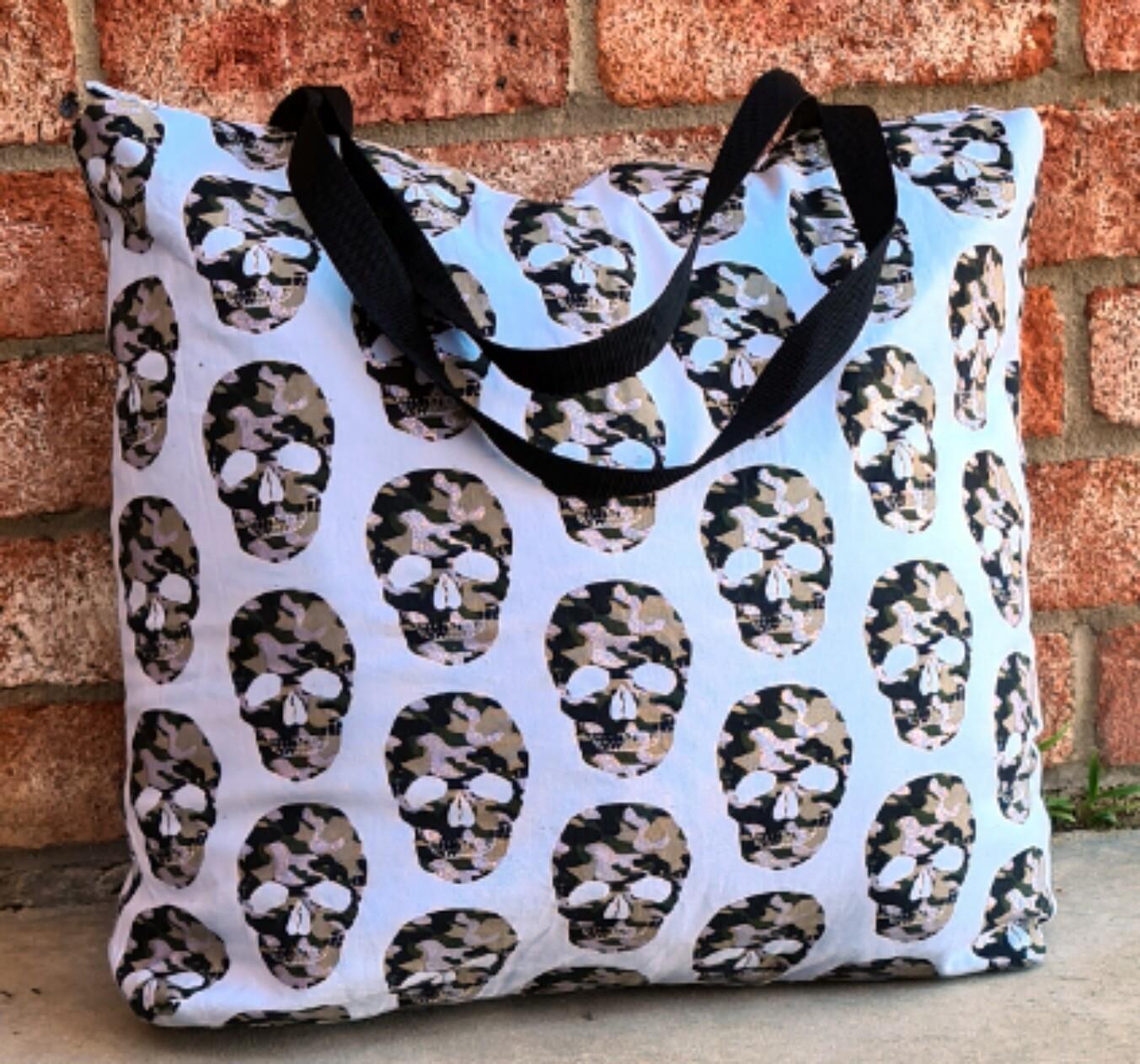 Camo Skull Beach Bag