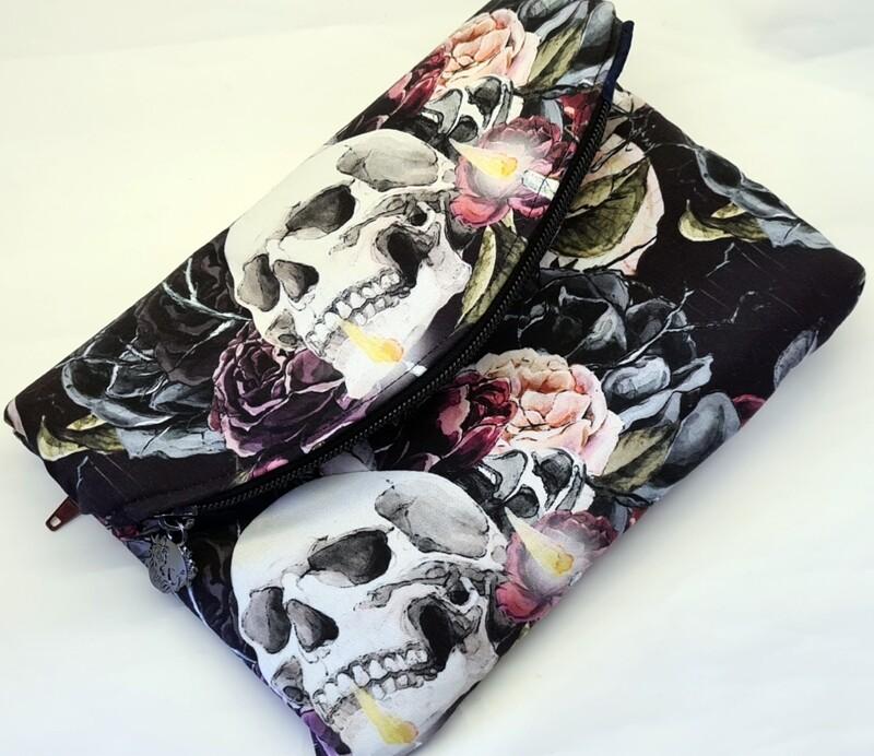 Skull Foldover Clutch