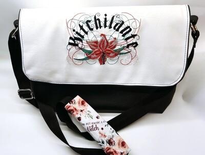 Bitchilante vinyl messenger bag