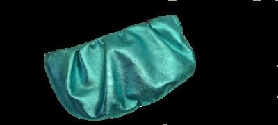 Aqua Metalic Leather Clutch with sneaky Swears