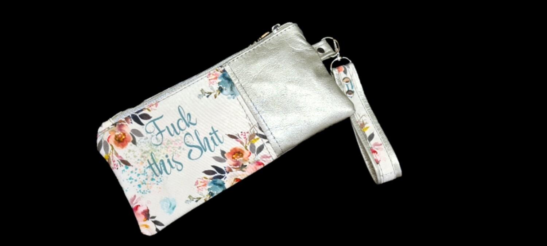Silver Leather swear clutch