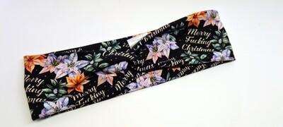 Merry effin xmas stretchy headband