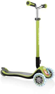 Globber Elite Prime Flashing Lime Green trīsriteņu bērnu skrejritenis