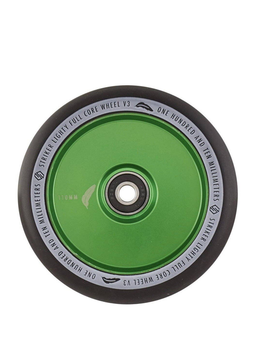 Striker Lighty Full Core V3 Black Pro Scooter Wheel (Color: Green)