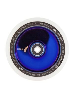 Striker Lighty Full Core V3 White Pro Scooter Wheel (Color: Blue Chrome)