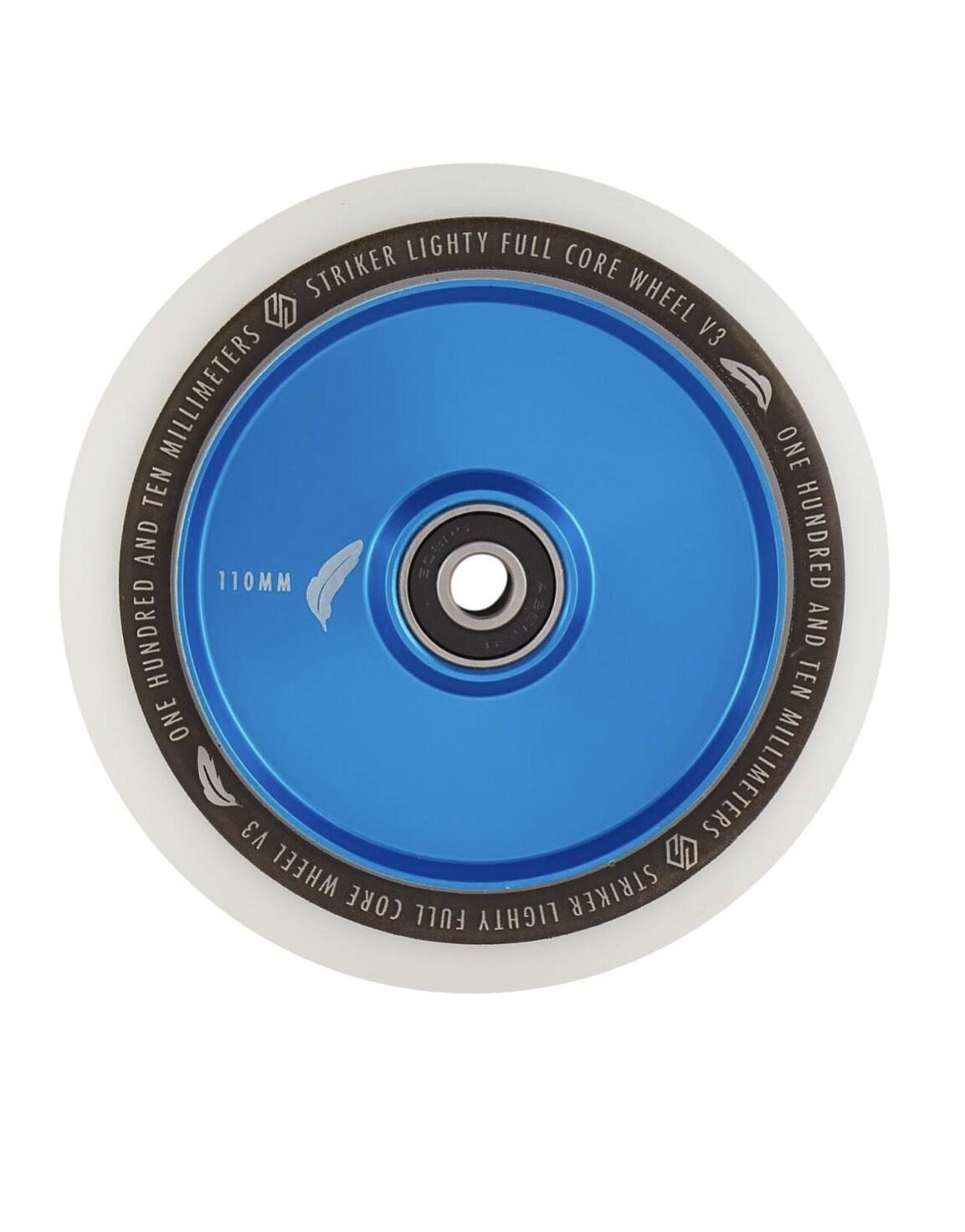 Striker Lighty Full Core V3 White Pro Scooter Wheel (Color: Blue)