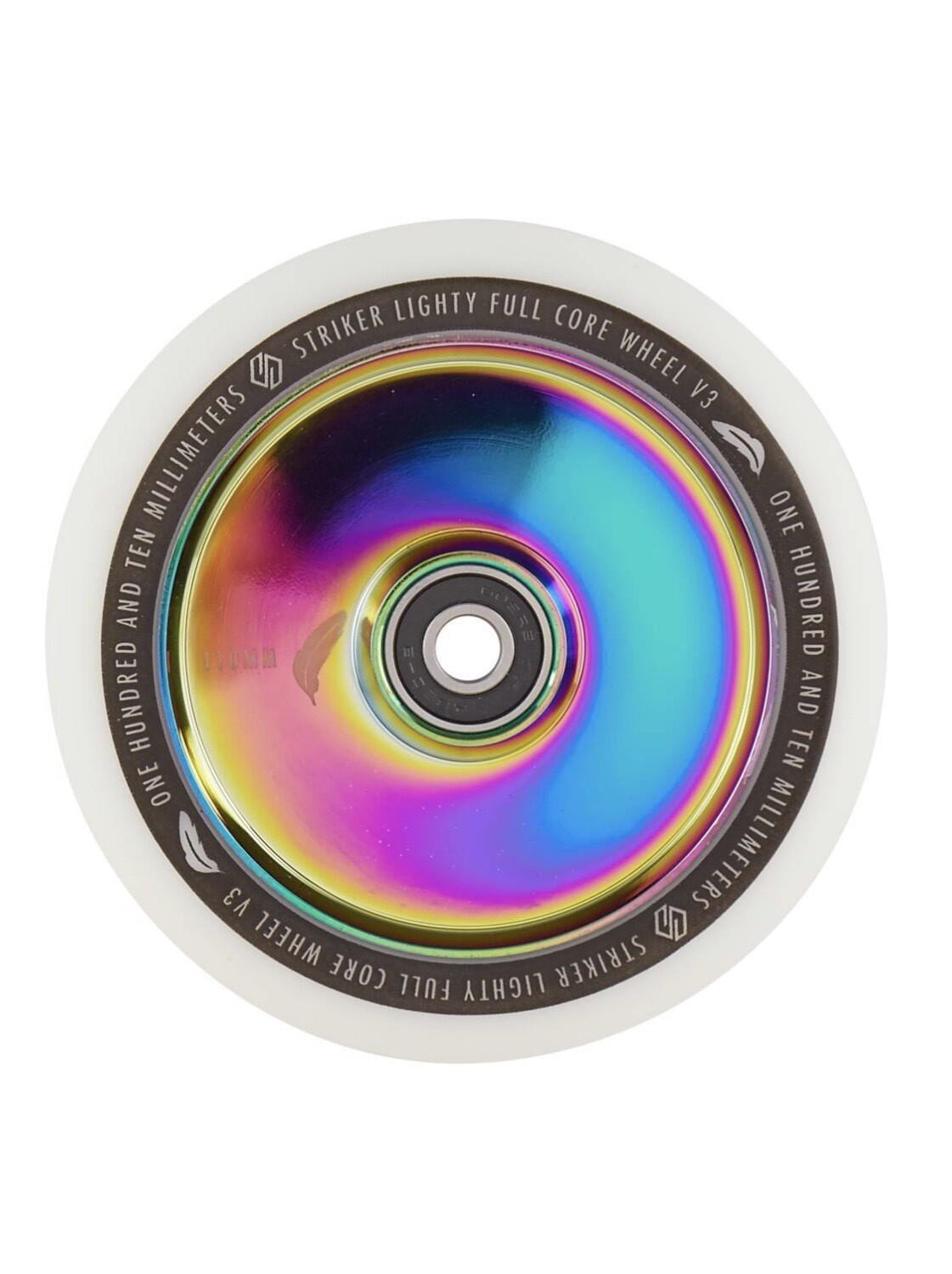 Striker Lighty Full Core V3 White Pro Scooter Wheel (Color: Rainbow)
