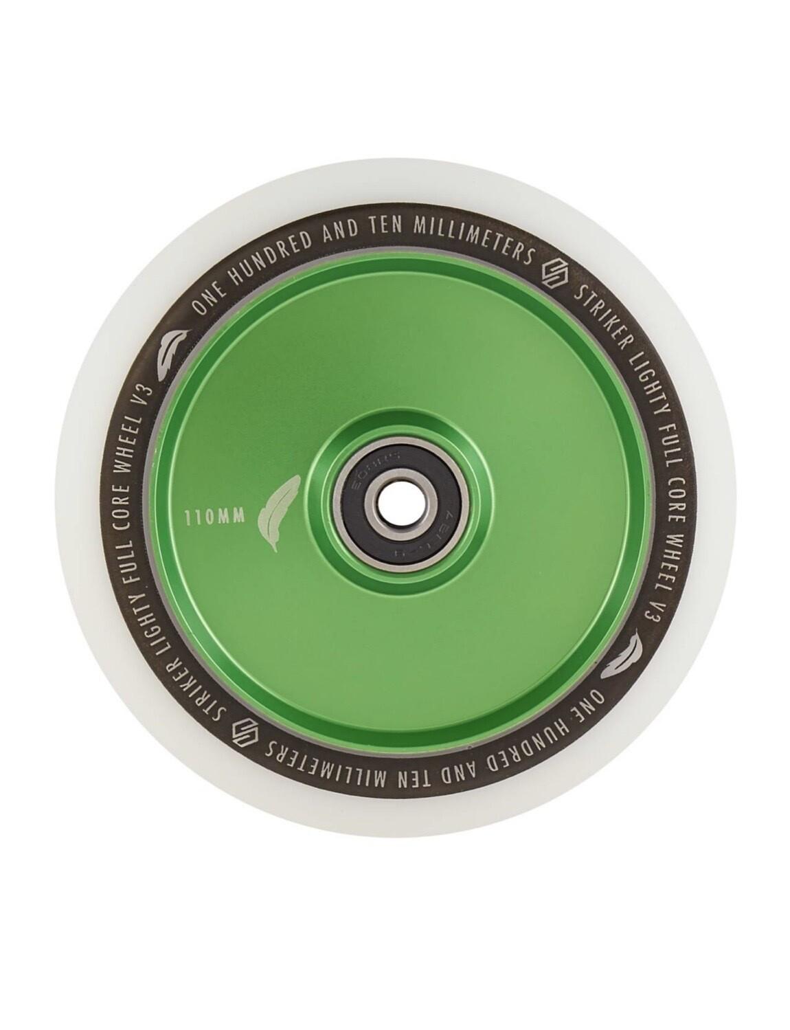 Striker Lighty Full Core V3 White Pro Scooter Wheel (Color: Green)