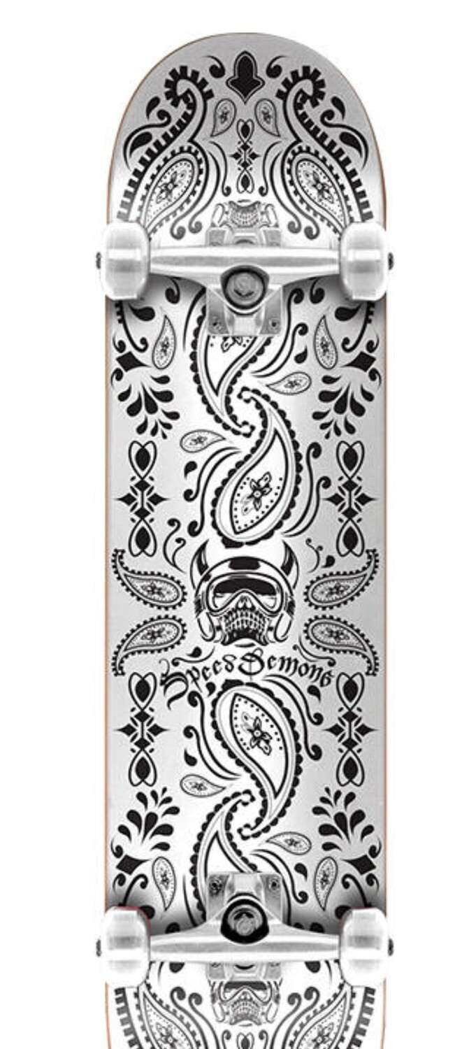 Speed Demons Bandana Complete Skateboard (Bandana Black/White)