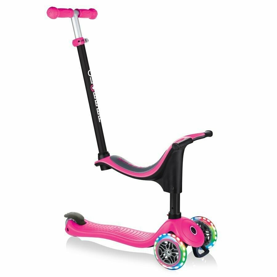 Globber GO-UP sporty Lights pink 3 in 1 bērnu skrejritenis