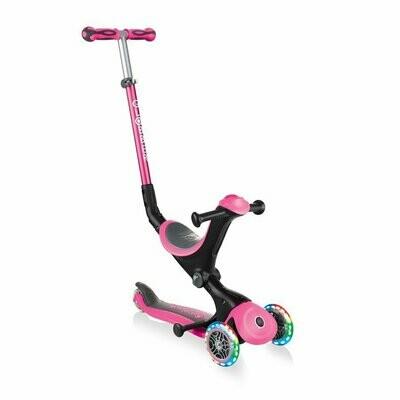 Globber GO-UP Deluxe Lights 646-106 pink bērnu skrejritenis