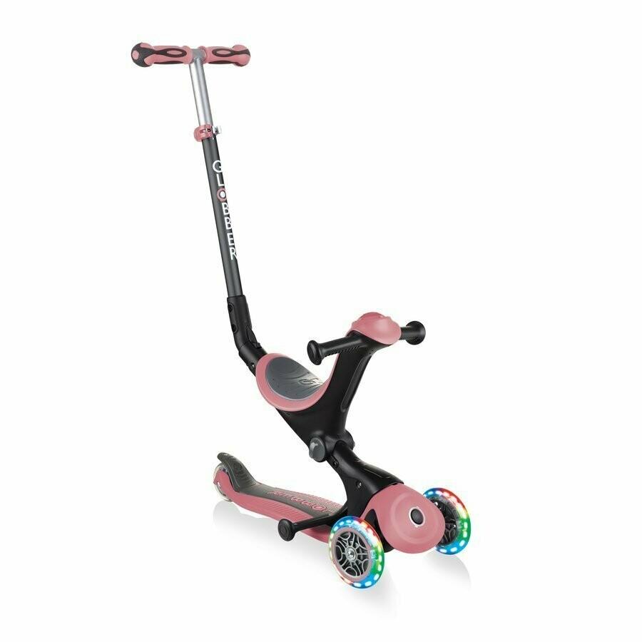 Globber GO-UP Deluxe Lights 646-106 pastel pink bērnu skrejritenis