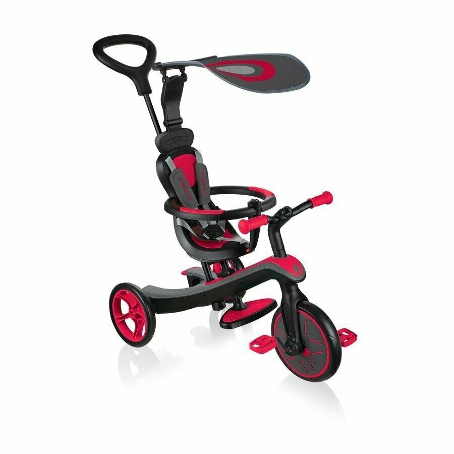 Globber Explorer Trike New Red 632-102-2, 4 in 1 trīsriteņu ritenis-velosipēds