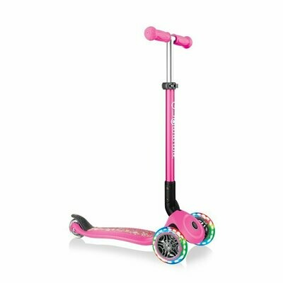 Globber Primo Foldable Lights Pink bērnu trīsriteņu skrejritenis