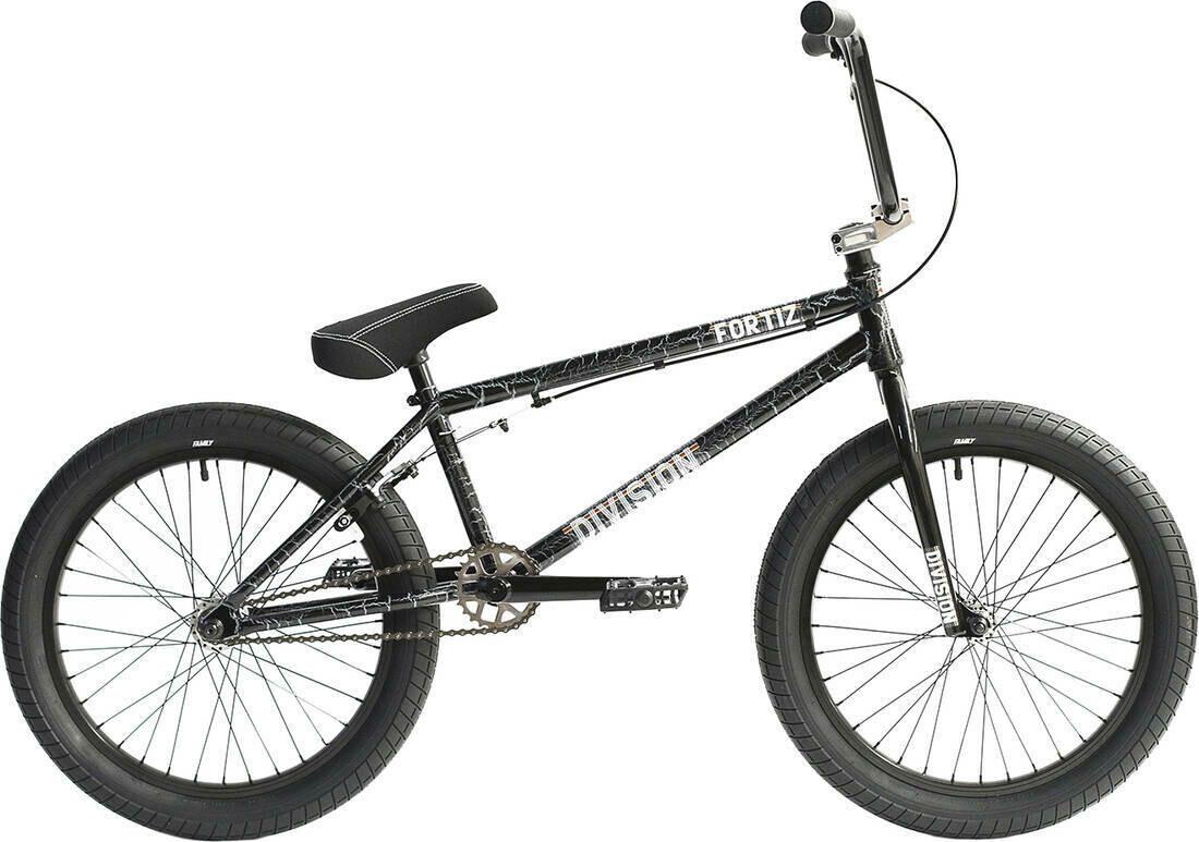 "Division Fortiz 20"" 2021 BMX Freestyle Bike Crackle Silver"