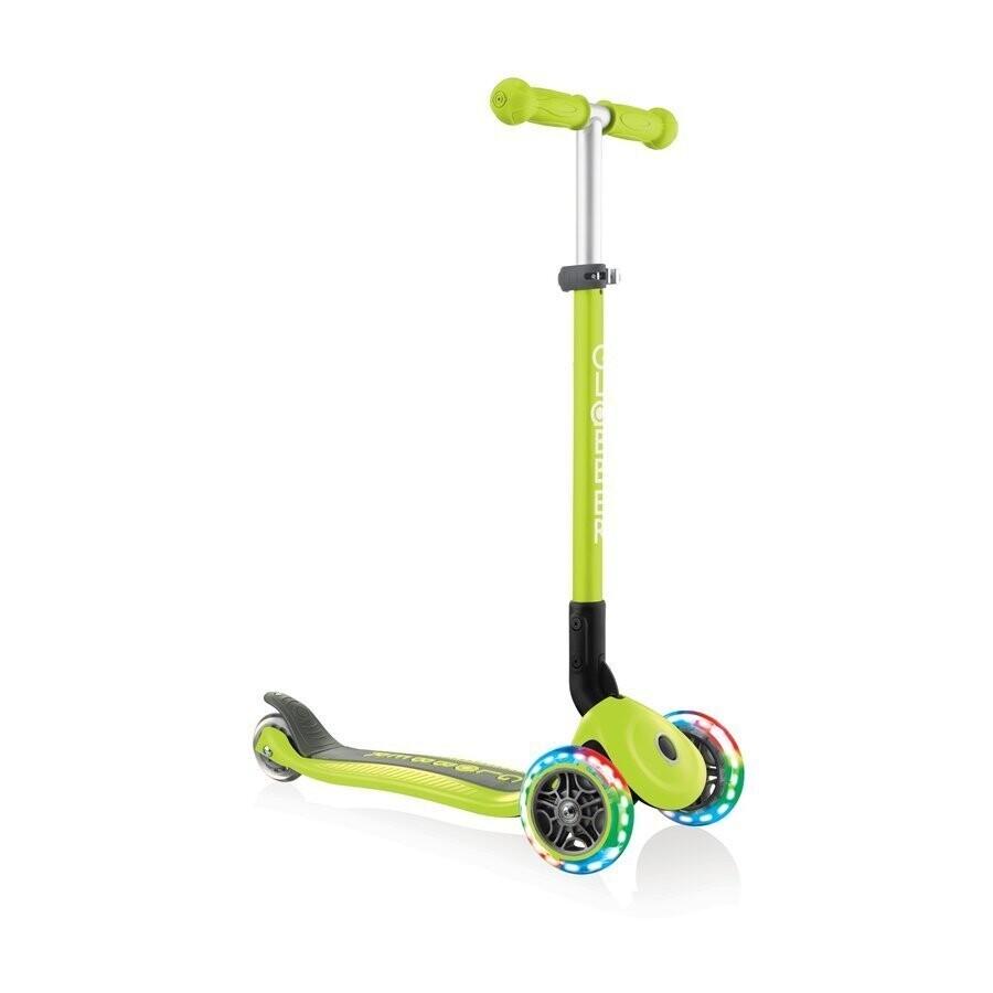 Globber Primo Foldable lights lime green bērnu trīsriteņu skrejritenis