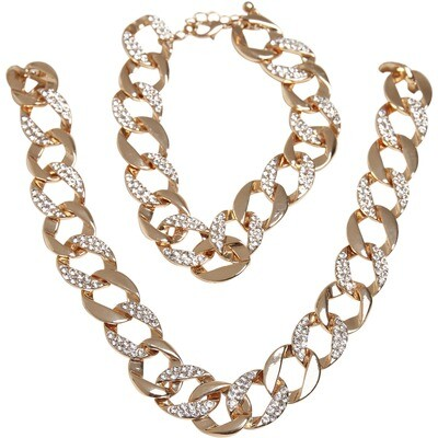 Basic Diamond Necklace And Bracelet Set
