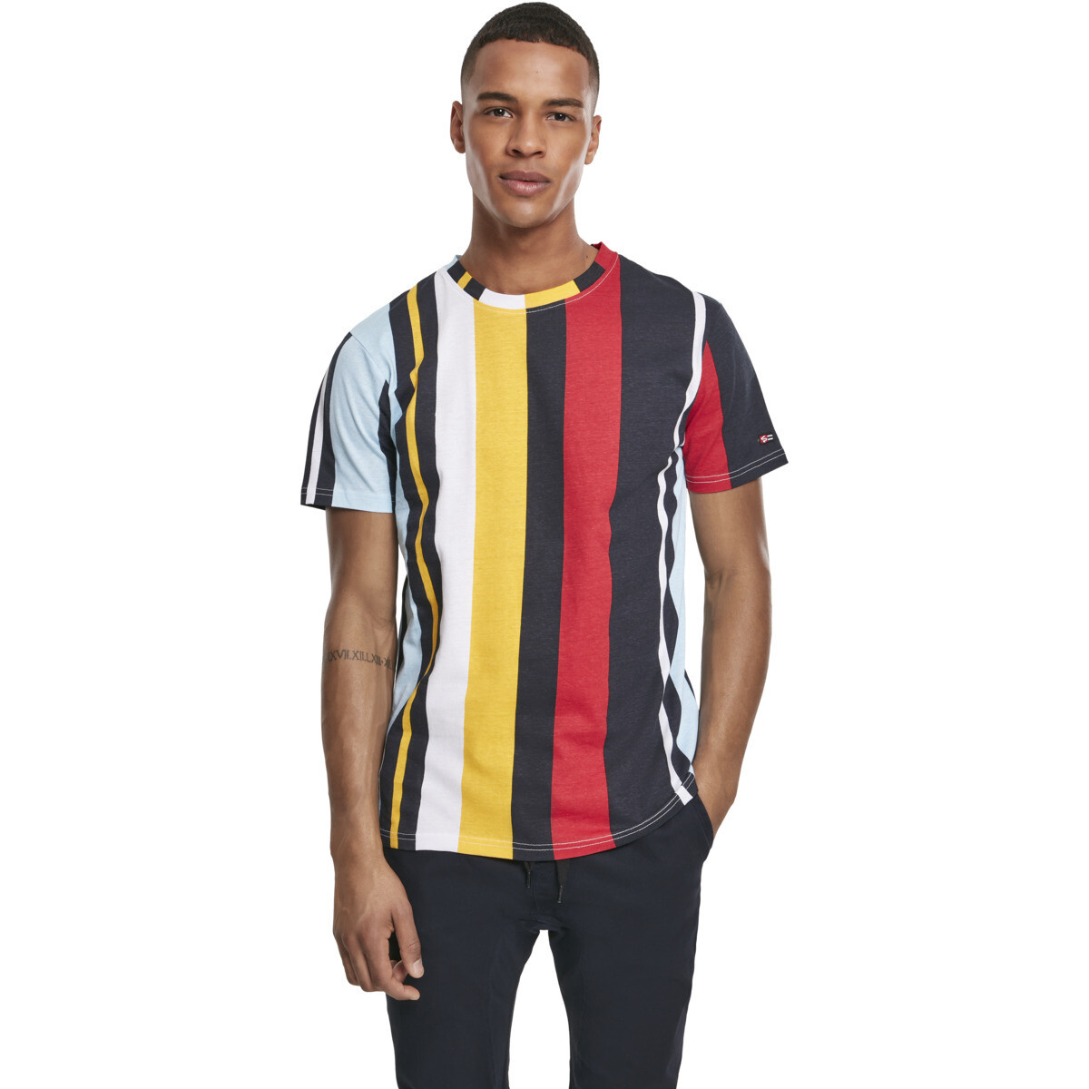 Vertical Block AOP T-Shirt - Navy